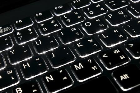 White light of keyboard English and Thai language