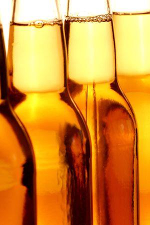 lined up: Beer Bottles