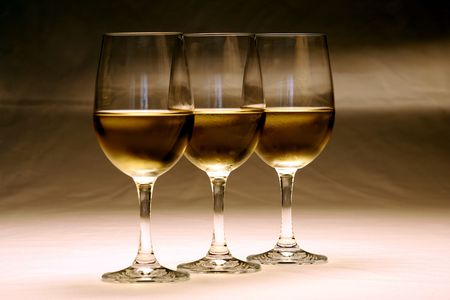 lined up: Glasses of white wine