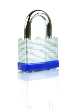 padlocked: A padlock isolated against a white background Stock Photo