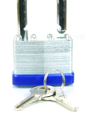 padlocked: A padlock isolated against a white background Stock Photo