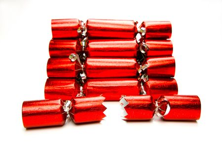 christmas cracker: Bon bons isolated against a white background Stock Photo