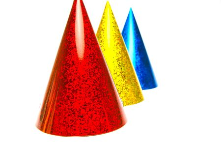 childs birthday party: Party hats isolated against a white background