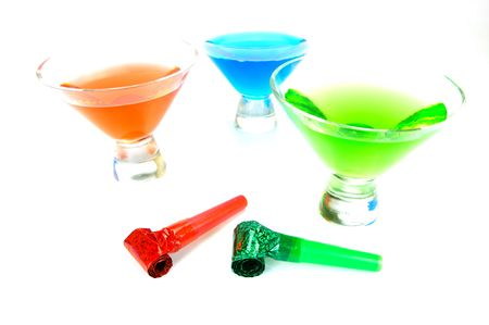 favours: Cosmopolitan cocktails and party favours isolated against a white background