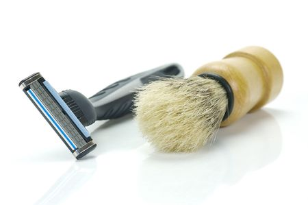 mens: Shaving items isolated against a white background Stock Photo