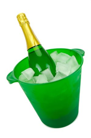 Bottles of sparkling wine in an ice bucket isolated agaisnt a white background Stock Photo - 5297793