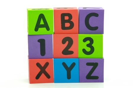The letters and numbers abc 123 xyz isolated against a white background
