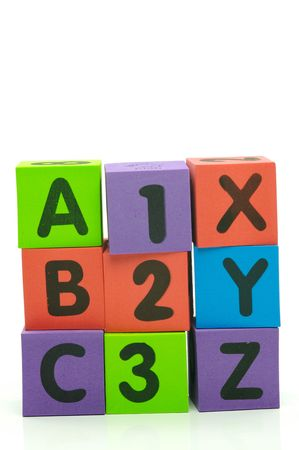 xyz: The letters and numbers abc 123 xyz isolated against a white background