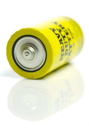 petrol powered: Household batteries isolated against a white background