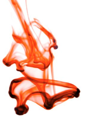 contempory: Contempory red ink in water on a white background  Stock Photo