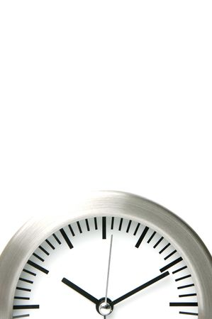 analogue: An analogue clock set against a white background Stock Photo