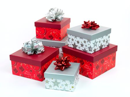 Christmas presents isolated against a white background Stock Photo