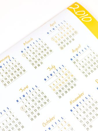 A 2010 Calendar isolated against a white background Stock Photo - 6059274