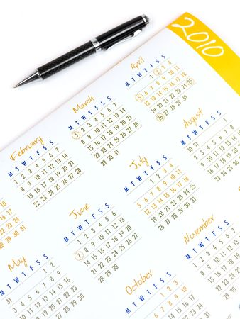 written date: A 2010 Calendar isolated against a white background