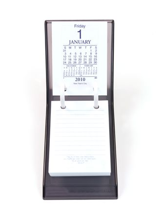 written date: A desk calendar isolated against a white background Stock Photo