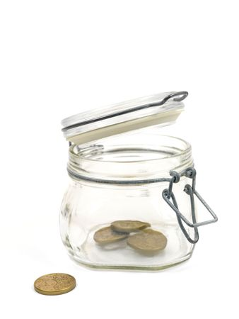 money box: A glass jar used as a money box