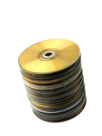 technologic: A stock of compact discs isolated against a white background