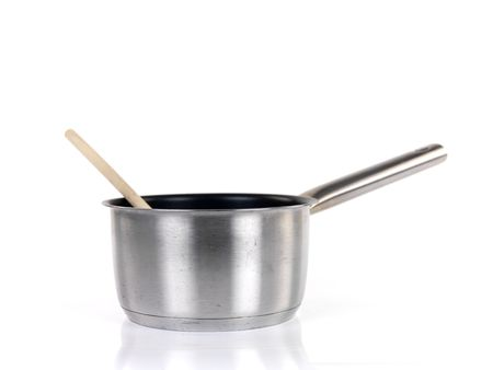 stainless steel pot: Pots and pans isolayed against a white background