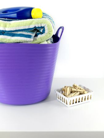 A laundry items isolated against a white background Stock Photo - 6563634