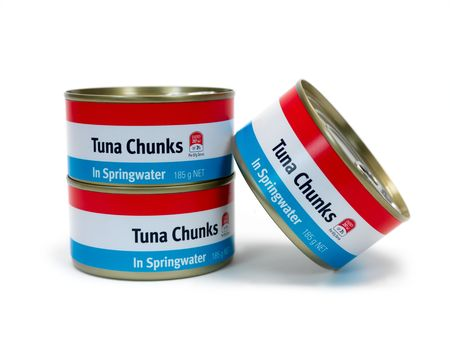 springwater: Cans of Tuna isolated against a white background