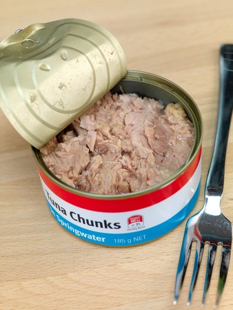 springwater: Cans of Tuna isolated on a wooden kitchen bench