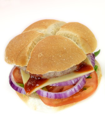 A freshly made American style hamburger with sauce Stock Photo - 7057570