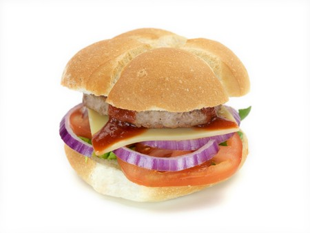 A freshly made American style hamburger with sauce Stock Photo - 7057510