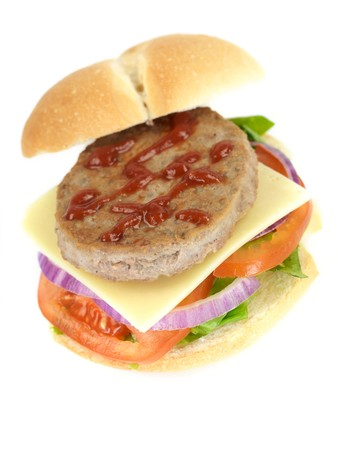 A freshly made American style hamburger with sauce Stock Photo - 7057514