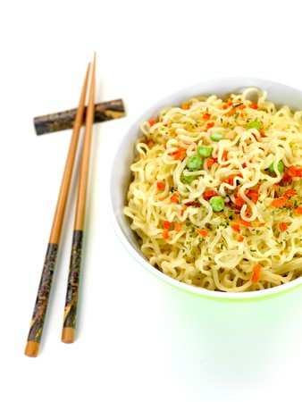 Cooked instant noodles isolated against a white background photo