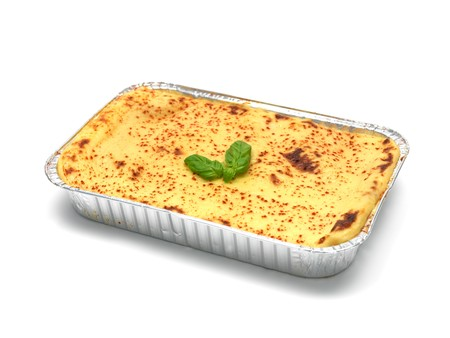 lasagna: A tray of lasagne isolated against a white background