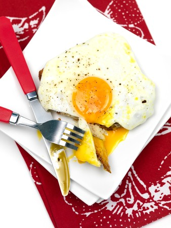 A freshly fried egg on a piece of toast photo