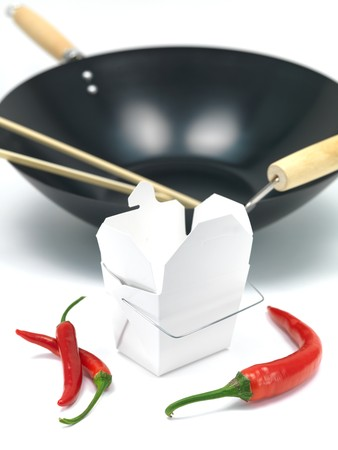 A Chinese takeaway container and a wok isolated against a white background Stock Photo - 7462683