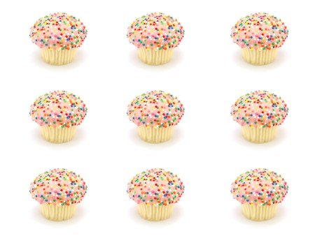 hundreds: Freshly baked cup cakes with hundreds and thousands