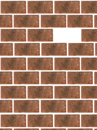 A red brick wall isolated against a white background photo