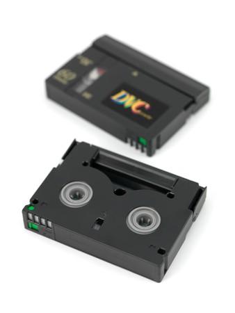 Mini DV Cassettes isolated against a white background photo