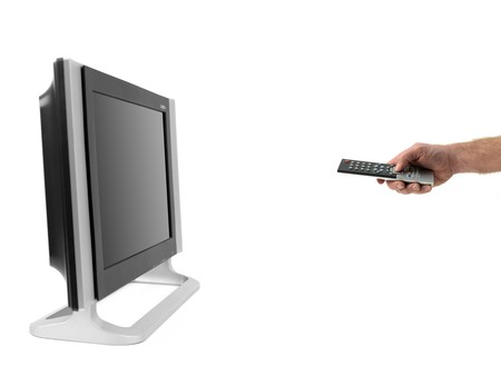 A LCD TV monitor isolated against a white background photo
