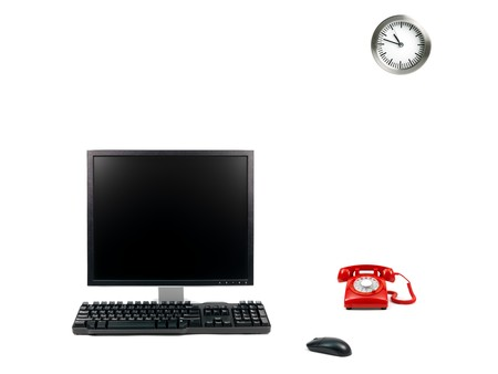 A desktop computer isolated against a white background photo
