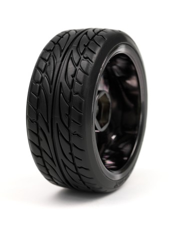 chromed: Chromed wheel with tires isolated on white background