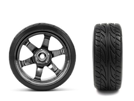 Chromed wheel with tires isolated on white background  Stock Photo - 8122991