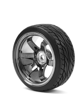 car tire: Chromed wheel with tires isolated on white background