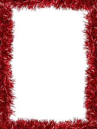 tinsel: Christmas Tinsel as a border isolated against a white background Stock Photo