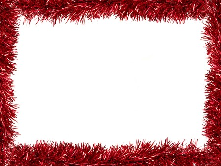 Christmas Tinsel as a border isolated against a white background Stock Photo