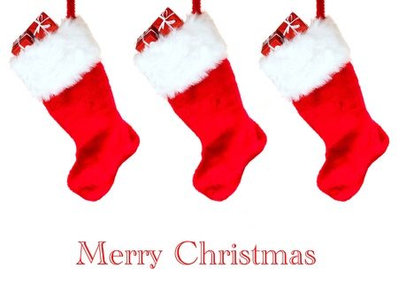 A Christmas Stocking isolated against a white background