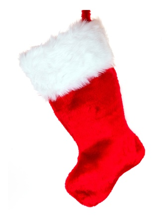 A Christmas Stocking isolated against a white background Stock Photo - 8286720