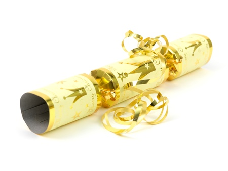 Christmas crackers isolated against a white background photo