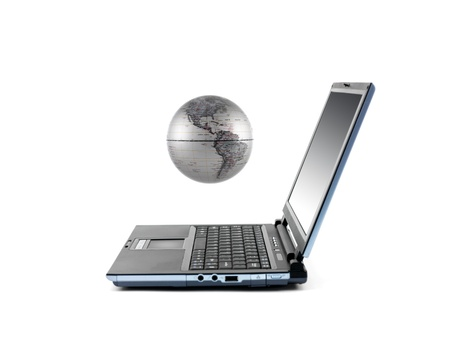 A laptop computer isolated against a white background photo