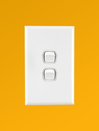 A white double light switch turned on Stock Photo - 8655292