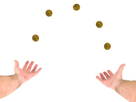 A person juggling money on a white background photo