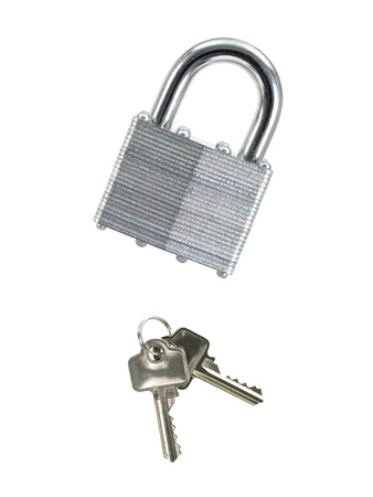 A metal padlock isolated against a white background photo