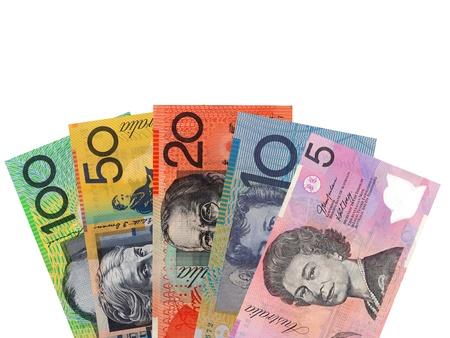 호주 통화는 흰색 배경에 대해 격리 스톡 콘텐츠